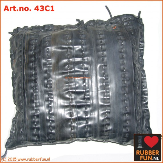 Cushion - eco - recycled rubber - bicycle tyre - straight stitch