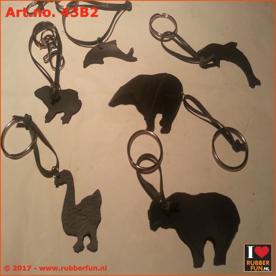 Key chain holder - eco recycled rubber animals