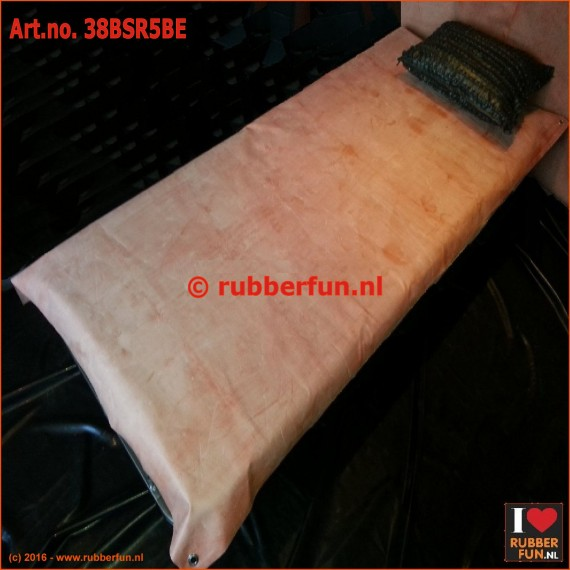 Rubber bed protector with eyelets