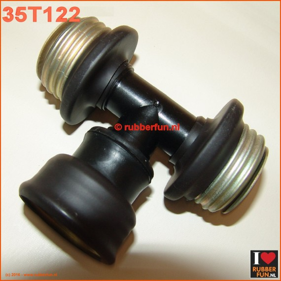 35T122 - T-connector gas mask - gas mask hoses, female-male-male