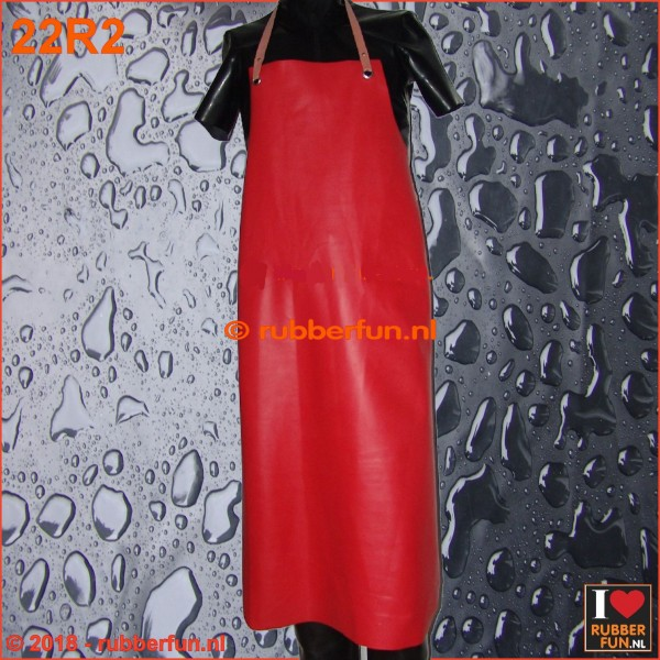 22R2 - Rubber apron - clinical red - heavy duty - 4 sizes