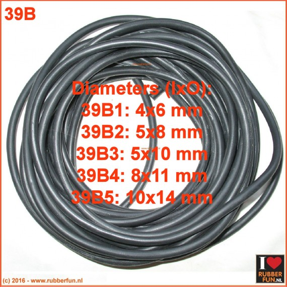 Rubber tubing - black NR rubber - 5 diameters (4x6 to 10x14)