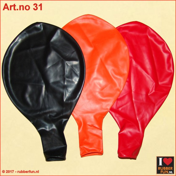 31 Latex balloons - 36 inch - red, black, orange