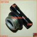 T-connector gas mask to medical. Male - medical 22F - medical 22M