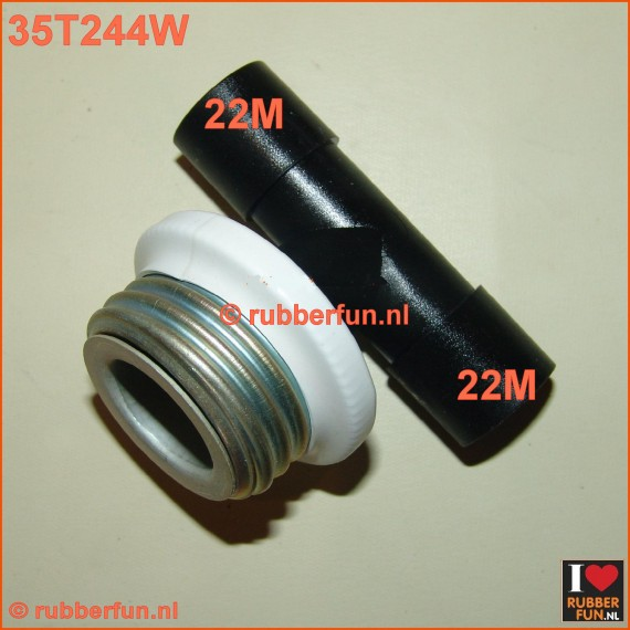 35T244W - T-connector gas mask to medical. Male white - medical 22M (2x)