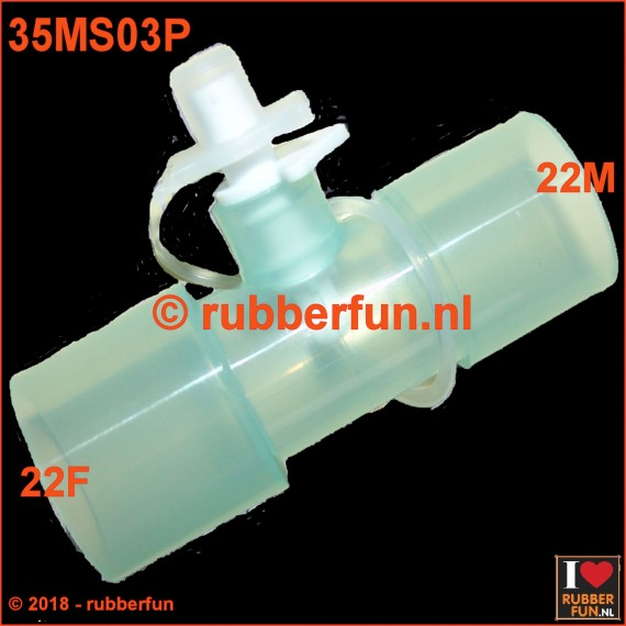 35MS03P - Medical connector - straight - with air flow plug - 22F-22M