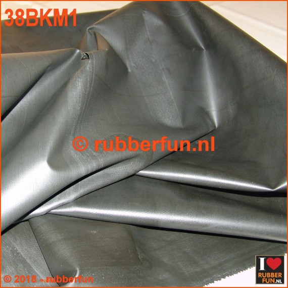 38BKM1 - Rubber sheeting - black - mack. rubber - 85 cm wide - 0.48 mm thick.