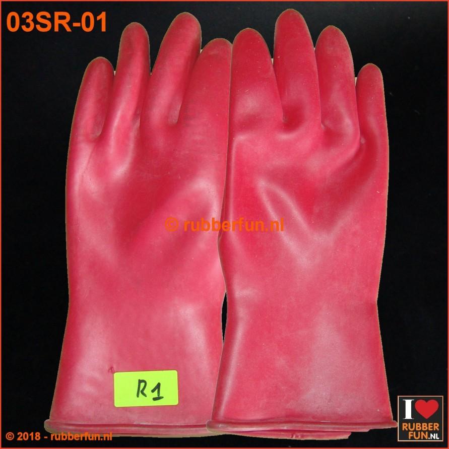 03SR - SALE - Rubber gloves - red