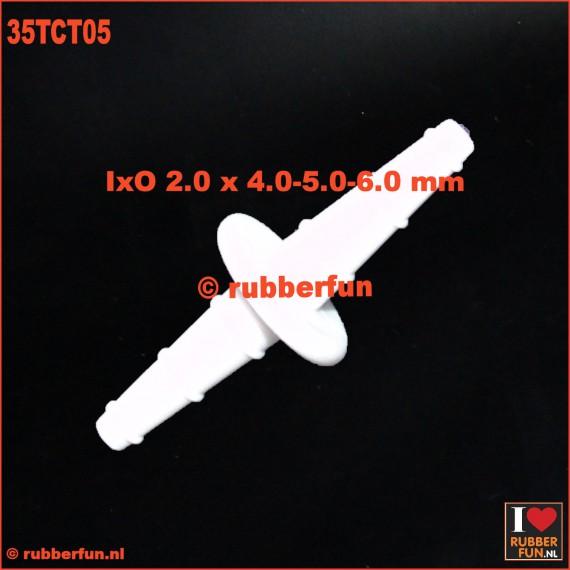 35TCT05 - connector - straight - barbed - 3-in-1 - IxO 2.0 x 4-5-6 mm