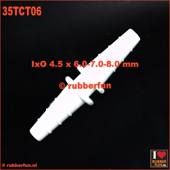 35TCT06 -connector - straight - barbed - 3-in-1 - IxO 3.5 x 6-7-8 mm