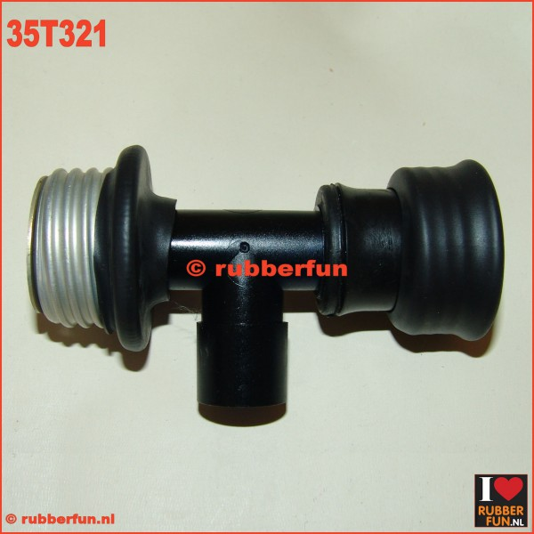 35T321 - T- connector medical 22F to male gas mask and female gas mask