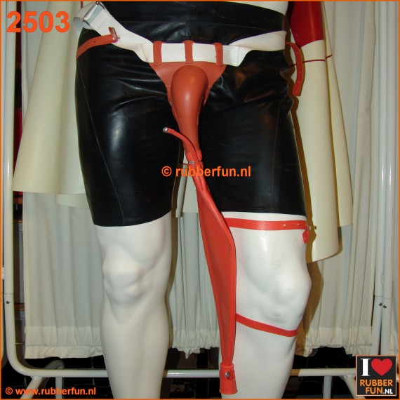 Urinal collector set - coverall with leg bag - red rubber