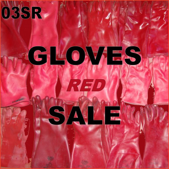 SALE - Rubber gloves - red