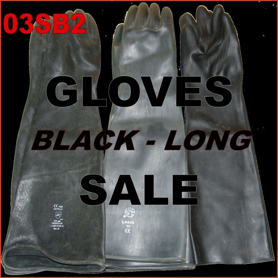 SALE - Rubber gloves - black - long (40+ cm)
