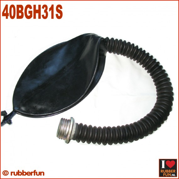 Gas mask rebreather bag with hose and air flow controller