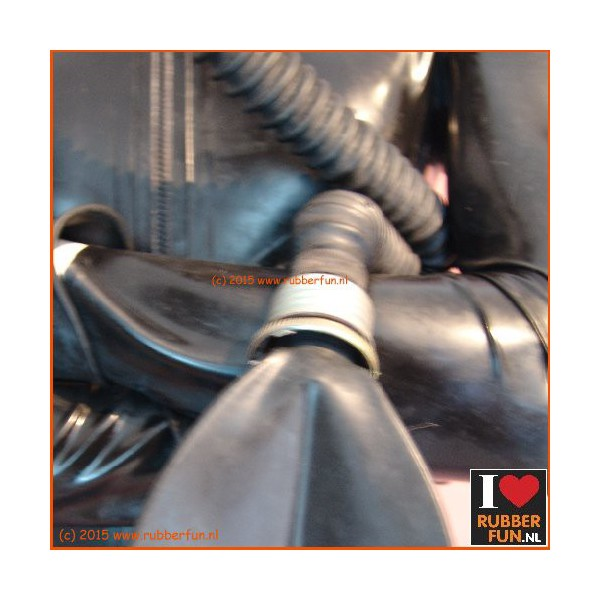 Gas mask rebreather bag with hose