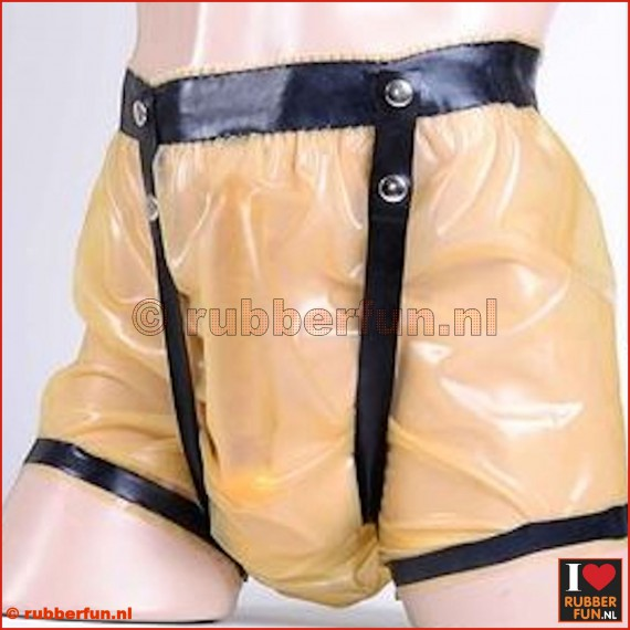 Rubber diaper pants with crotch straps