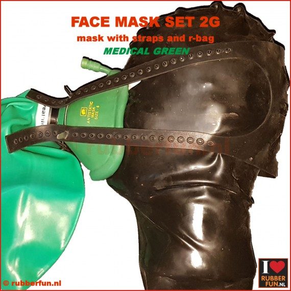 Anesthesia mask - set 2G (mask, straps + re-breather bag) - black + med. green