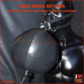 Anesthesia mask - set 2 (mask, straps + re-breather bag) - black + med. green